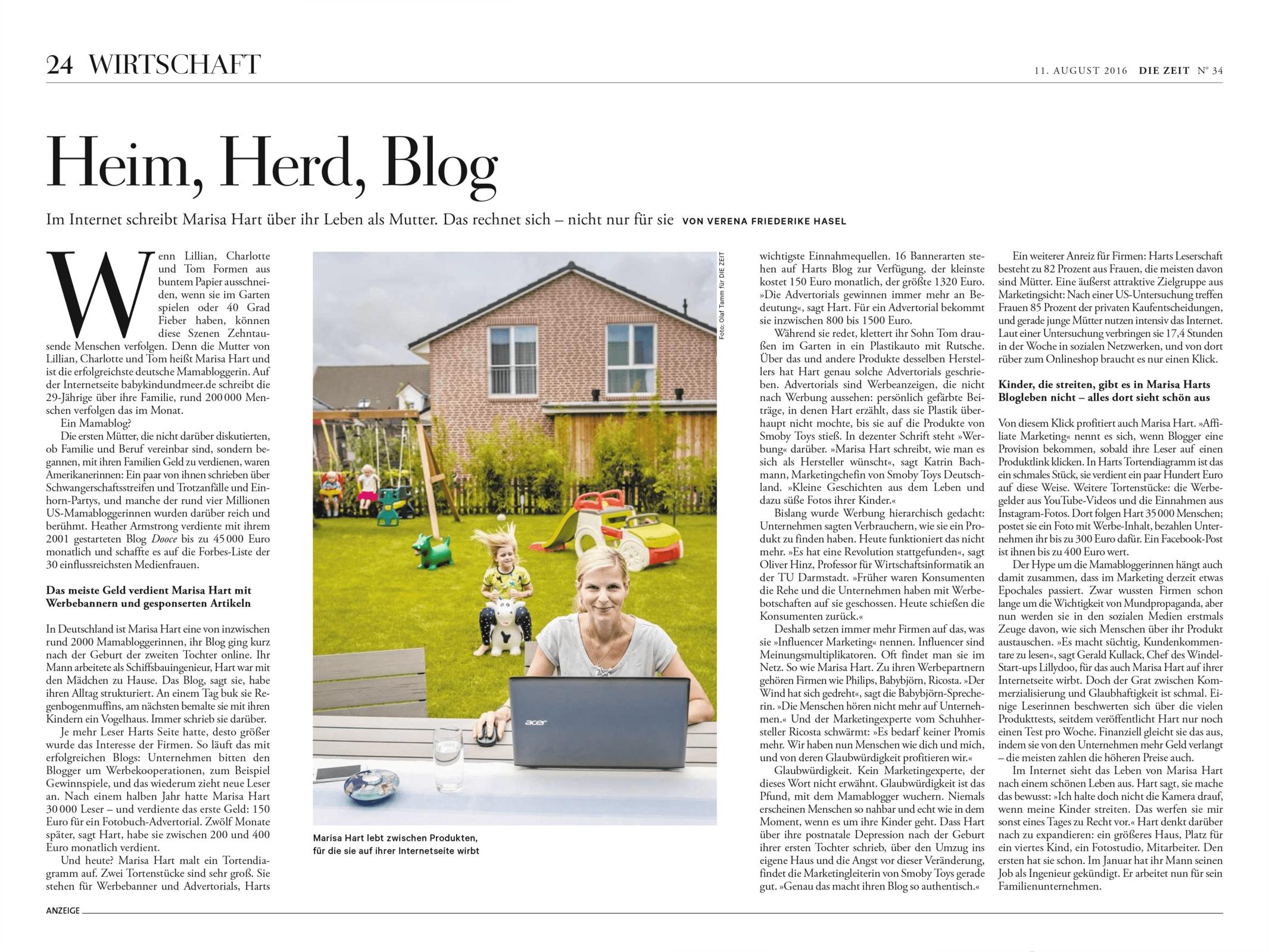 Die Zeit 20160811 Heim, Herd, Blog