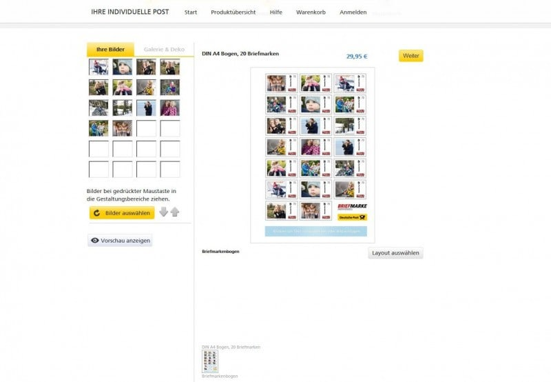Deutsche Post Individuelle Briefmarken Screenshot 1