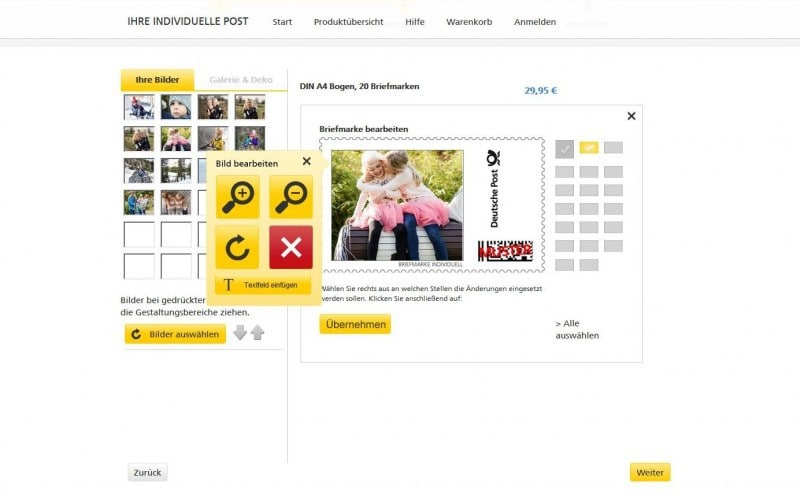 Deutsche Post Individuelle Briefmarken Screenshot 2