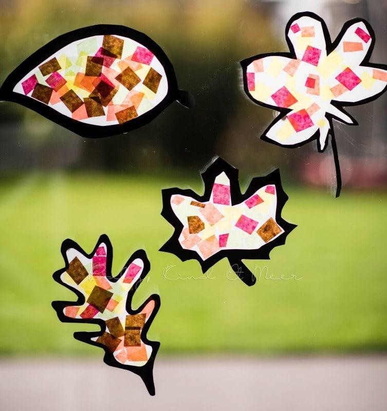 Basteln im Herbst Fensterbilder 1