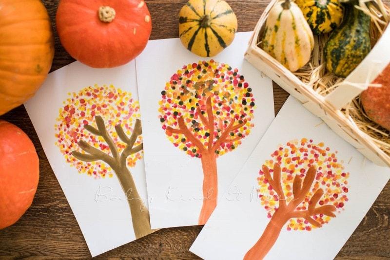 Basteln im Herbst Herbstbaeume 1