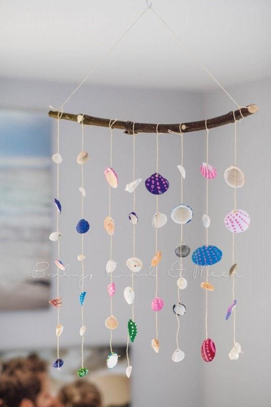 Muschel Windspiel DIY mit Kindern 11
