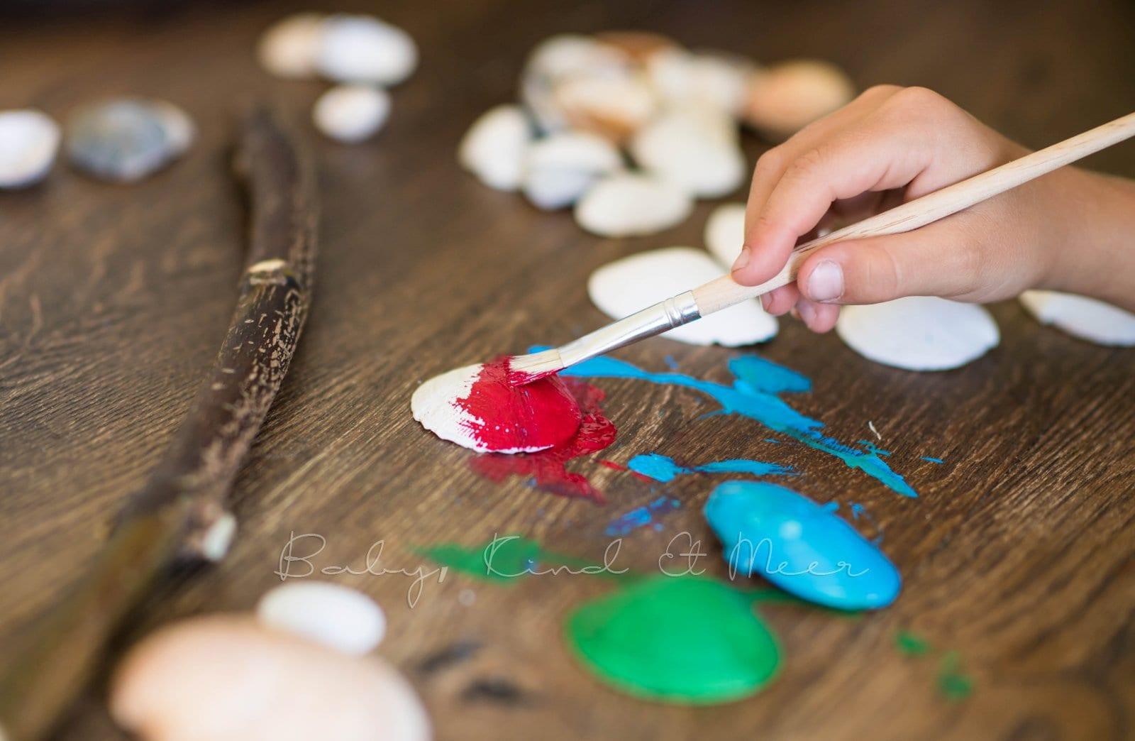 Muschel Windspiel DIY mit Kindern 4