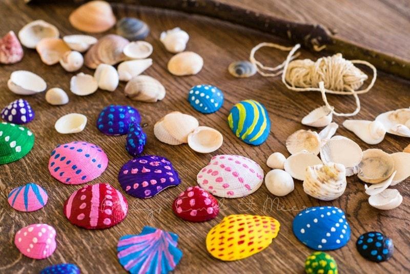 Muschel Windspiel DIY mit Kindern 8
