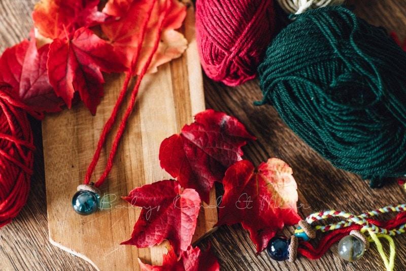 Herbst Bastelidee DIY Murmelketten aus Eicheln 11